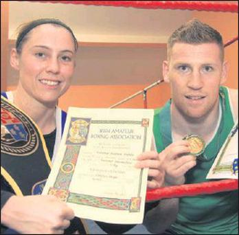Lynsey Doyle who won the National Intermediate 57kg title with Niall Murray who won the Leinster Senior 64kg championship.