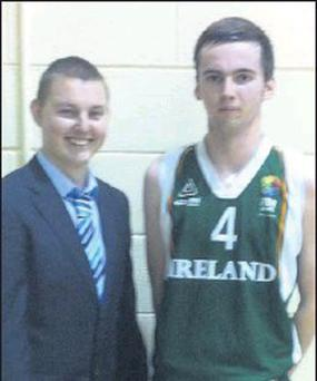 Pres Bray past and current pupils representing Ireland - Gavin Holmes (Irish Under-17 basketball team assistant coach) and Andy Bartley (Irish Under-18 basketball team player).