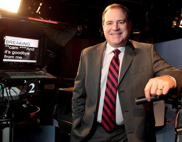 TV3's News Anchor, Alan Cantwell pictured in studio before reading his last news report in 2013 .Picture: Frank McGrath
