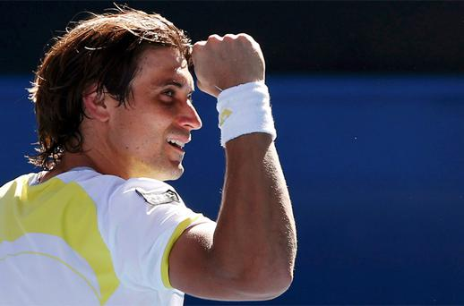 David Ferrer of Spain celebrates defeating compatriot Nicolas Almagro during their men's singles quarter-final match at the Australian Open. Photo: Reuters
