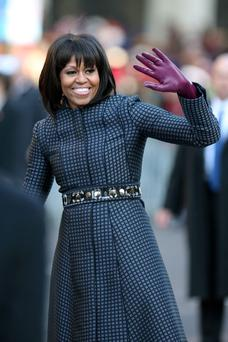 Michelle's choice of coat as remarkably subdued