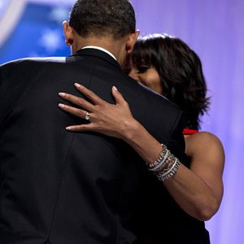President Barack Obama and first lady Michelle Obama dance together at his second Inaugural Bal (AP)