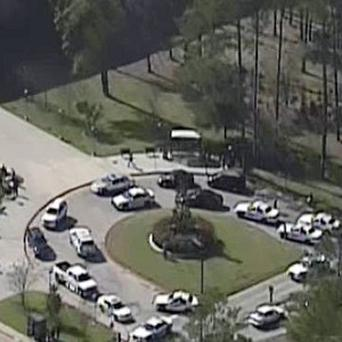 The scene at Lone Star College in Houston, where law enforcement officials are investigating a shooting (AP/KPRC TV)
