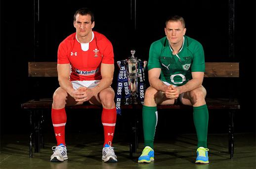 Sam Warburton of Wales and Jamie Heaslip of Ireland pose with the Six Nations trophy during the 6 Nations Launch at The Hurlingham Club, London. Photo: PA