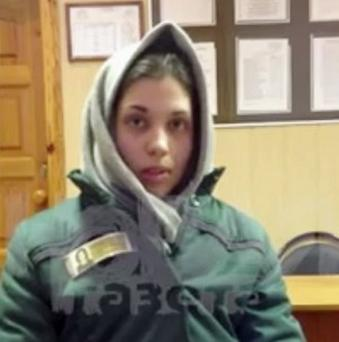 Nadezhda Tolokonnikova appears in a video grab in prison uniform