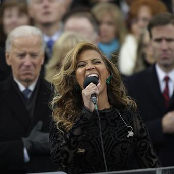 Beyonce 'sings' the national anthem at the ceremonial swearing-in at the US Capitol in Washington (AP)