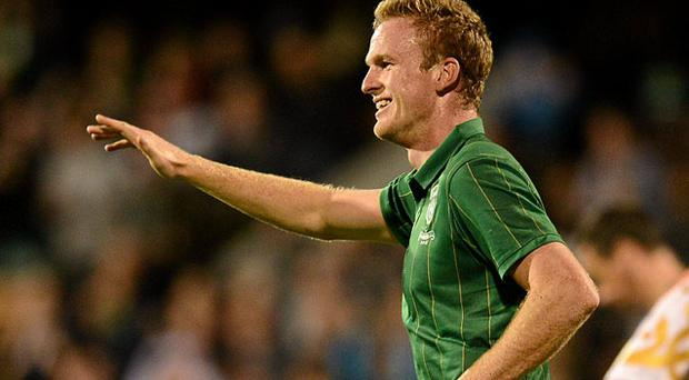 Alex Pearce celebrates after scoring against Oman in his last Ireland friendly. Photo: Sportsfile