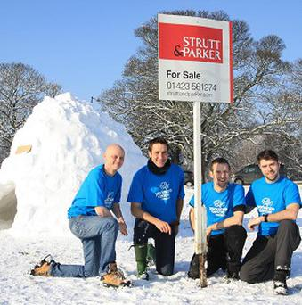 Igloo builders Craig Parker, Mark Baranovsky, Carl Baranovsky and Greg Davies are raising money for Yorkshire Cancer Research
