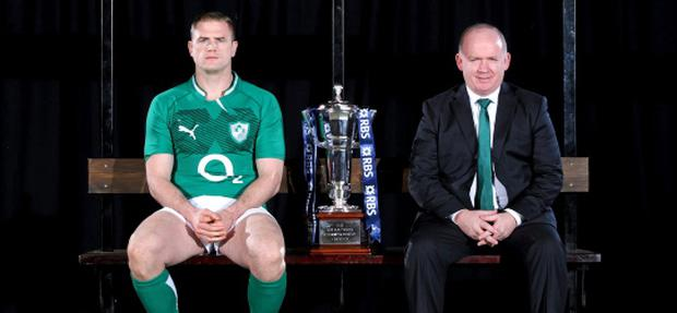 21 January 2013; In attendance at the launch of the 2013 RBS Six Nations Championship are Ireland captain Jamie Heaslip and head coach Declan Kidney. RBS Six Nations Championship 2013 Launch, Fulham, London, England. Picture credit: Andrew Fosker / SPORTSFILE