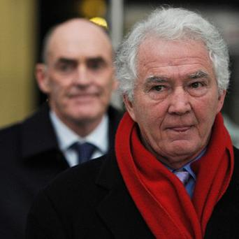 Former Anglo-Irish Bank chief executive and chairman Sean FitzPatrick leavesthe Circuit Criminal Court in Dublin