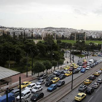 Cars are caught in a traffic jam during a strike by metro workers in Athens (AP/Dimitri Messinis)