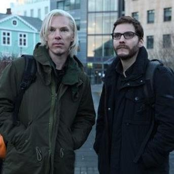 Benedict Cumberbatch portrays Julian Assange and Daniel Bruhl plays Daniel Domscheit-Berg in The Fifth Estate