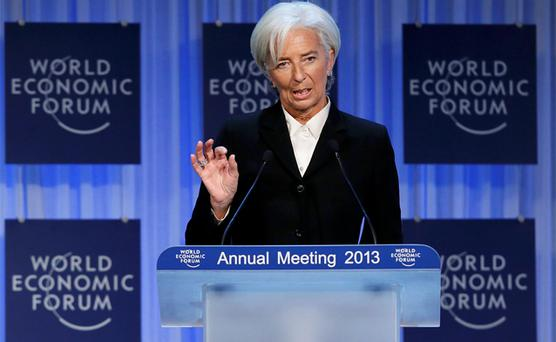 International Monetary Fund (IMF) chief Christine Lagarde addresses the annual meeting of the World Economic Forum in Davos