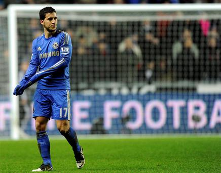 23 January, 2013: Chelsea's Eden Hazard is sent off for kicking a ball boy during their English League Cup semi-final second leg soccer match against Swansea at the Liberty Stadium. Photo: Reuters