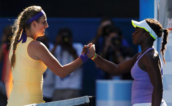 Victoria Azarenka shakes hands with Sloane Stephens after defeating her in their women's singles semi-final