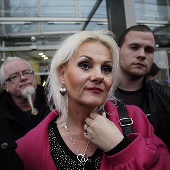 Fiona Doyle speaking to the media outside the Central Criminal Court in Dublin
