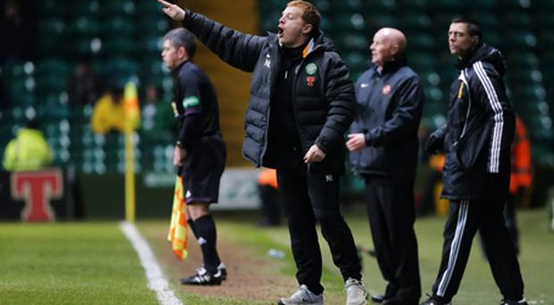 Celtic manager Neil Lennon during the Clydesdale Bank Scottish Premier League match against Dundee United