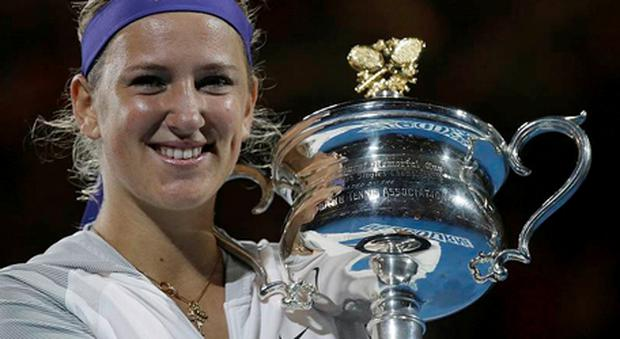 Victoria Azarenka of Belarus holds her trophy after winning the women's final at the Australian Open tennis championship in Melbourne