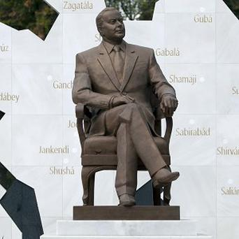 A life-size bronze statue of late Azerbaijan president Geidar Aliev has been moved in Mexico City (AP)