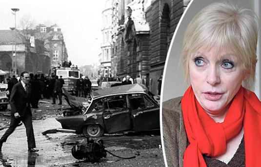 Left: The wreckage after the Old Bailey bombing in March 1973. Right: Dolours Price in her Dublin home in 2010