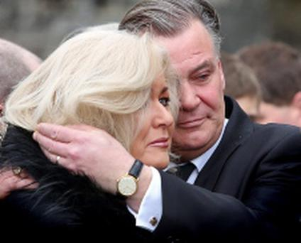 Derry Clarke consoles his wife Sallyanne as they follow the remains of their son at the funeral of 17 year old Andrew Dermot Parker Clarke, son of chef Derry Clarke at The Boys' Chapel, Clongowes Wood College, Clane this morning..Picture Colin Keegan, Collins, Dublin.