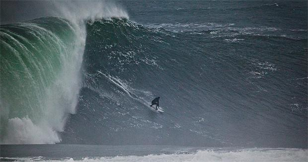 Hawaiian big-wave surfer Kohl Christensen at Mullaghmore, Co Sligo, where waves were up to 50ft yesterday