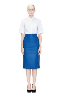 Top, €40; skirt, €270; shoes, €27, all Marks & Spencer
