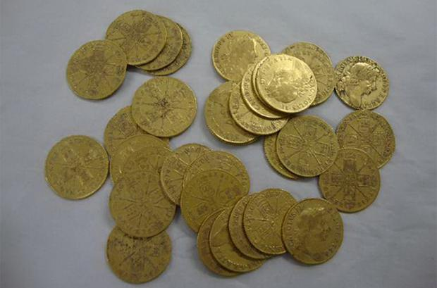 Some of the gold coins that were found in foundations