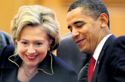 utgoing US secretary of state Hillary Clinton and President Barack Obama, who gave a joint interview at the White House. Photo: Getty Images