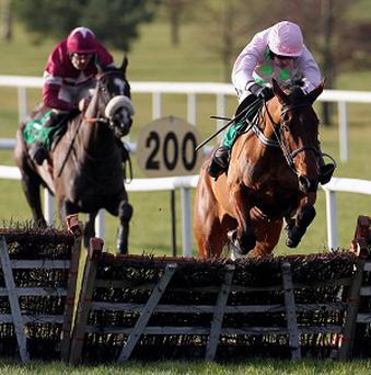 Pont Alexandre, right, made all to win the Synergy Security Solutions Novice Hurdle