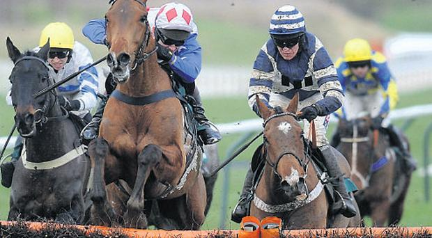 Oscar Whisky (R) finishes runner-up to Reve De Sivola (C) on Saturday