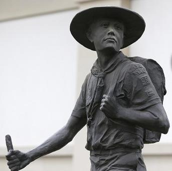 A statue of a Boy Scout stands in front of the National Scouting Museum, in Irving, Texas (AP/LM Otero)