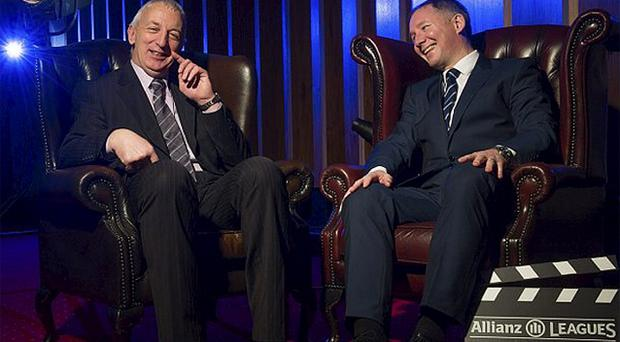 Conor Counihan and Jim Gavin enjoy a light-hearted moment at the launch of the Allianz Football League at Croke Park