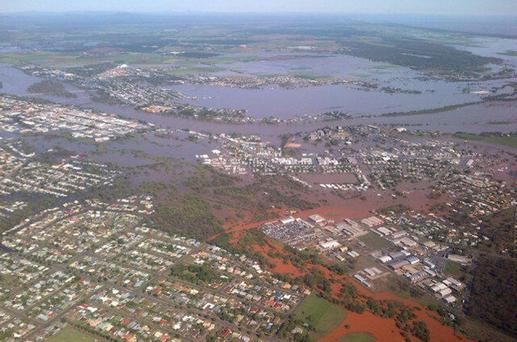 Floodwaters from the Burnett River inundate parts of Bundaberg, 300kms north of Brisbane