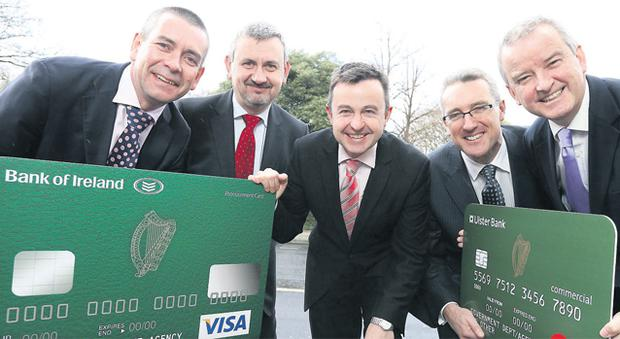 At the launch were, from left, Brendan Kelly, Bank of Ireland; Paul Quinn, chief procurement officer; Minister of State Brian Hayes; Eddie Cullen, Ulster Bank; and John McGrane, Ulster Bank