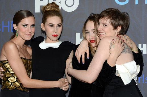 Allison Williams, Zosia Mamet, Jemima Kirke and Lena Dunham attend the Premiere Of 'Girls' Season 2 Hosted By HBO