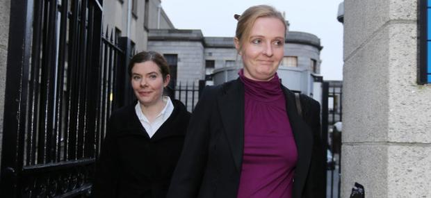 24/1/2013L-R: Colette and Ciara Quinn, daughters of Sean Quinn - leaving court yesterday(Thurs) after the opening day of a High Court hearing.Pic: Collins Courts