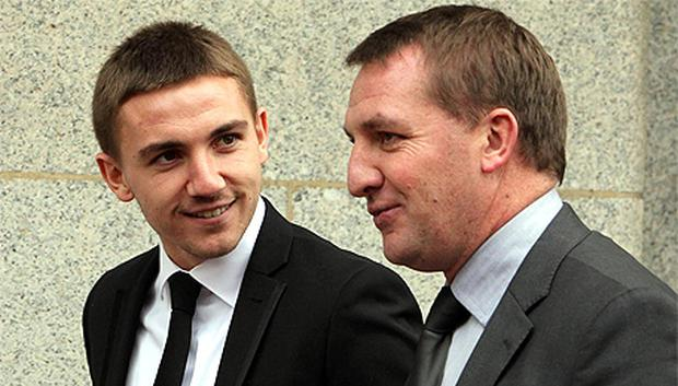 Defendant Anton Rodgers (left) with his father Brendan Rodgers, outside the Old Bailey
