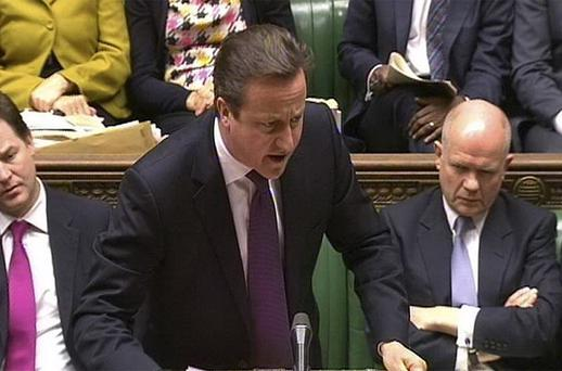 British Prime Minister David Cameron speaks during Prime Minister's Questions in the House of Commons. Photo: PA