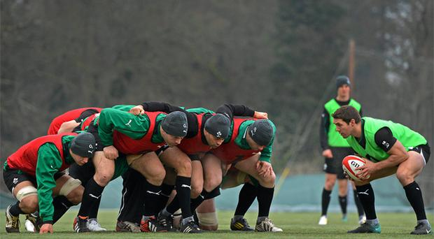 The Irish front row - Mike Ross, Rory Best, and Cian Healy - under the watchful eye of scrum-half Isaac Boss during training but a lack of underage coaching is restricting Ireland's front row options, according to former international Reggie Corrigan
