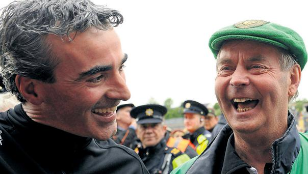 Former Donegal manager Brian McEniff (right) is hopeful that the current crop, led by Jim McGuinness, are not distracted too much by this year's league campaign