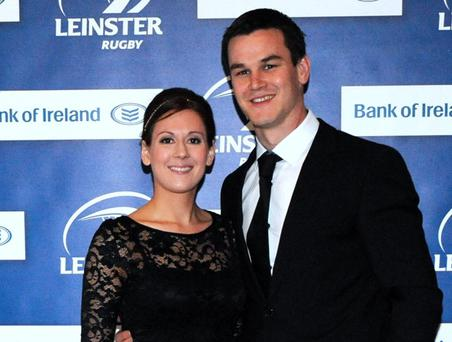21 Apr 2012 Leinster's Jonathan Sexton with Laura Priestley arriving at the Leinster Rugby awards 2012. Mansion House, Dublin. Picture: Caroline Quinn