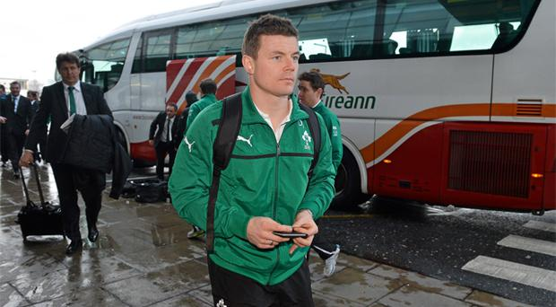 31 January, 2013: Brian O'Driscoll arrives at Dublin Airport yesterday on the way to Cardiff for Ireland's opening Six Nations game against Wales tomorrow. Photo: Sportsfile
