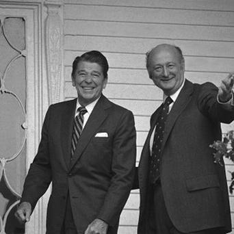 New York Mayor Ed Koch, right, with presidential nominee Ronald Reagan in 1980 (AP)