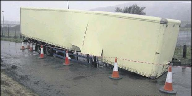The trailer containing toxic sludge which was dumped at Carrickarnon.