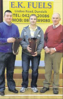 Gerry Conroy and Michael Savage with Sean Marmion, Chairman, Kilcurry Bowls Club.
