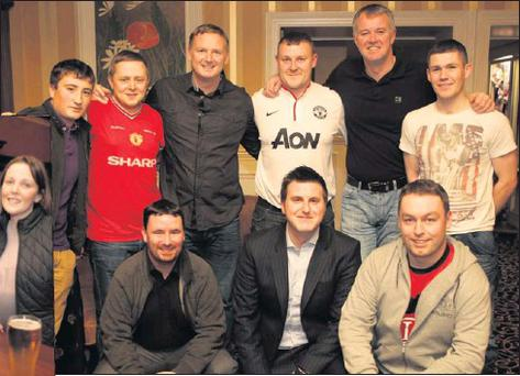 LEFT: David May, Paul Kavanagh, Gary Pallister and Clare Williams. ABOVE: Back: Jack Doyle Rennix, Karl Mohan, David May, Conor O'Sullivan, Gary Pallister and Dean Fletcher. Front: Anthony Fox, Mark Maguire and Kevin Ennis.