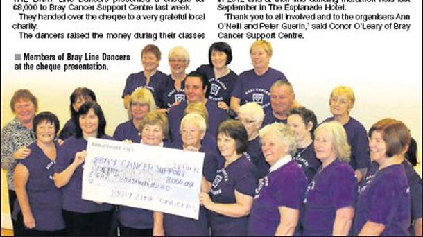 Members of Bray Line Dancers at the cheque presentation.