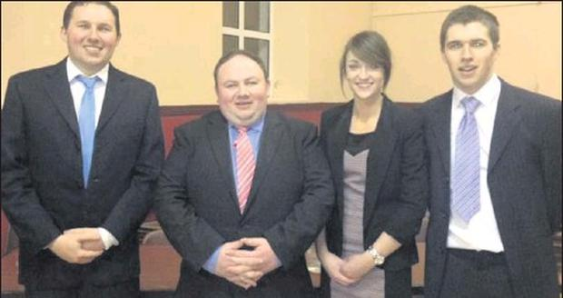 The Freemohnt Macra Senior Debating team of, from left to right, Owen Bourke, John O' Dwyer, Sinéad Guiney and Thomas Stritch whi reached the semi-finals of the competition.