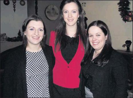 Valerie Rice, Claire O'Flynn and Louise Bourke who took part at the recent Avondhu debating workshop.